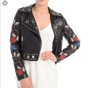 Black Leather Jacket. $25 $0. ROMEO & JULIET COUTURE floral embroidered  grommet